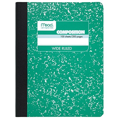 Book 100 Sheet (Mead Composition Notebook, Wide Ruled, 100 Sheets (200 Pages), 9-3/4 x 7-1/2, Green)