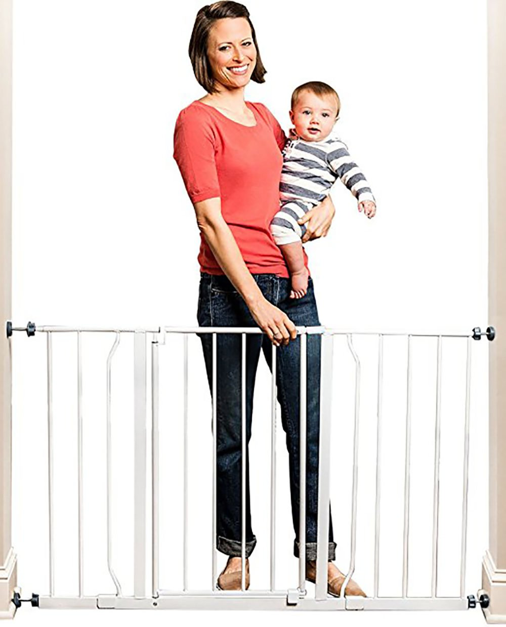 Baby Gate Pressure Mount with 2 Included Two Extension Kits Easy Open 50 inch Wide one Touch Release Safety Lock one Touch Release Safety Lock Stands 30 inches Tall Indoor & ebook by Big_Store