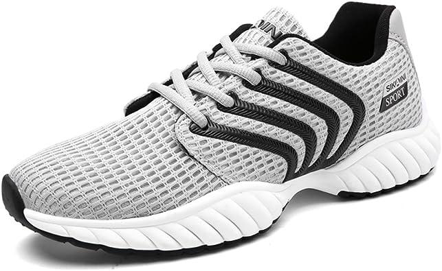 HUSKSWARE Zapatillas de Running para Hombre, Zapatillas Deportivas Ligeras Gimnasio Caminar Zapatillas Fitness para Hombre Mujer, Color Gris, Talla 43 EU: Amazon.es: Zapatos y complementos