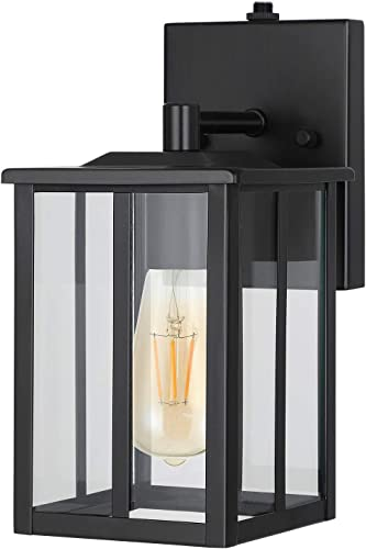 DEWENWILS Dusk to Dawn Outdoor Wall Light, Exterior Wall Lantern with Photocell Sensor, E26 Socket, Clear Glass, Waterproof, Black Wall Sconce Fixture for Porch, Garage, Doorway