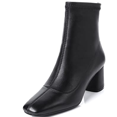 88126bb90379 Image not available for. Color  Nine Seven Genuine Leather Women s Square  Toe Chunky Heel Back Zip Handmade Simple Basic Mid Calf