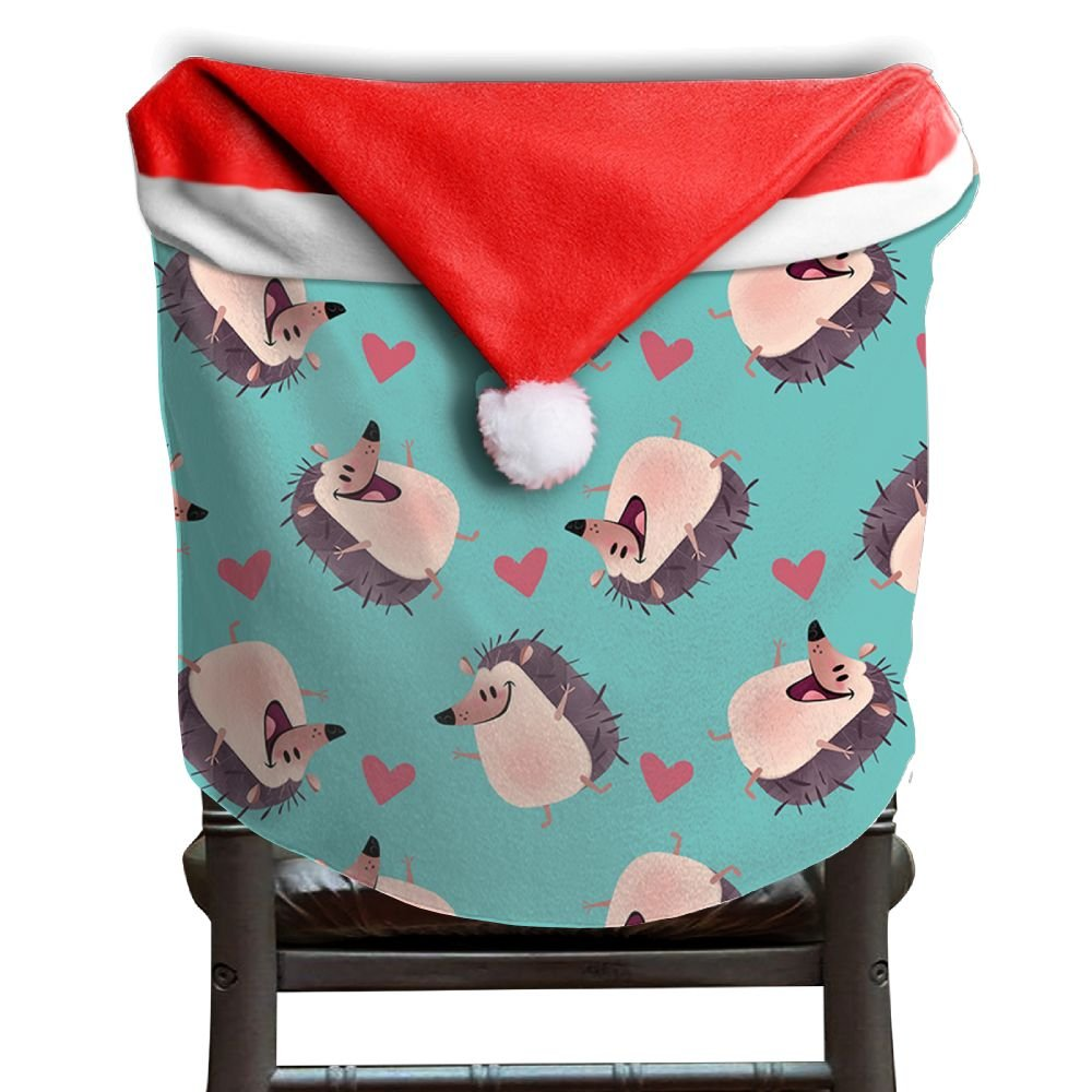 Hedgehog Animals Christmas Chair Covers Classic Easy To Carry Hang Around Chair For Boyfriends Armless Chair Slipcover Holiday Festive