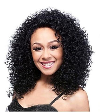 "JIAFA Sintético Afro Kinky Curly Rizado Pelucas para Negro Mujer Africano Americano 15"" Largo Negro"