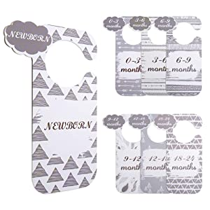 Plastic Baby Closet Size Dividers for Boy and Girl,Baby Closet Dividers from Newborn Infant to 24 Months,Nursery Closet Organizer Dividers for Baby Shower Gifts(Gray)