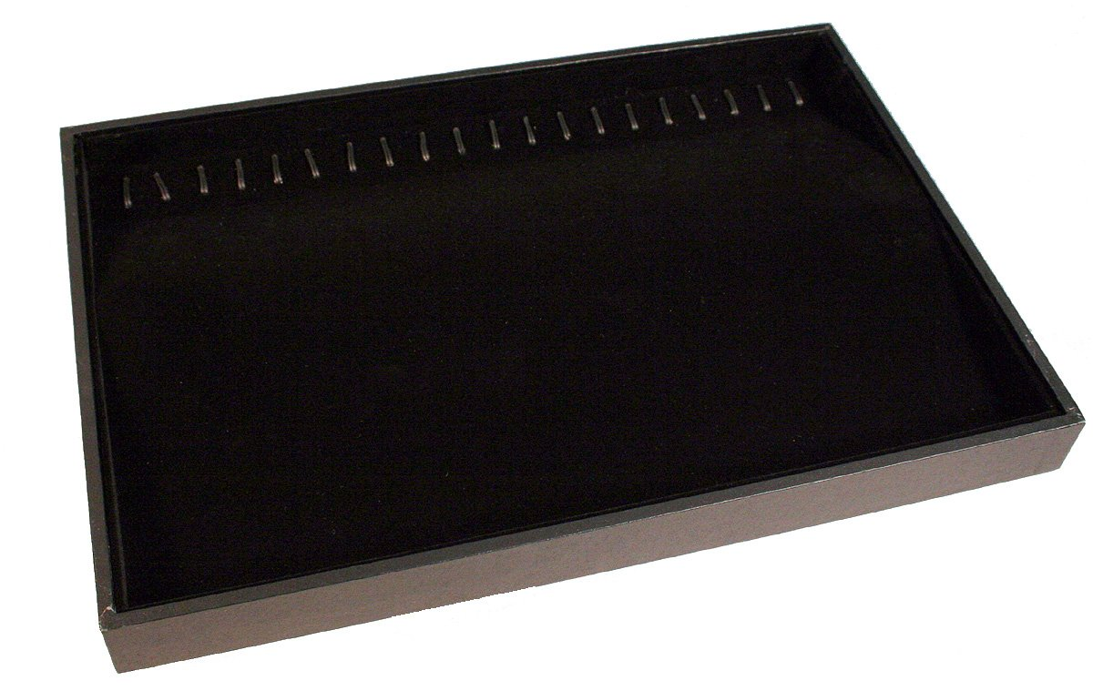 Creative Hobbies Black Velvet Jewelry Display Tray with 20 Hooks Is Perfect for Bracelets Necklace Organizer -Stackable