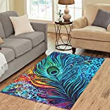 "ADEDIY Personalized Rug Abstract Art Colorful Peacock Feathers Area Rug 5'3""x4′ Floor Rug for Living Room Bedroom"