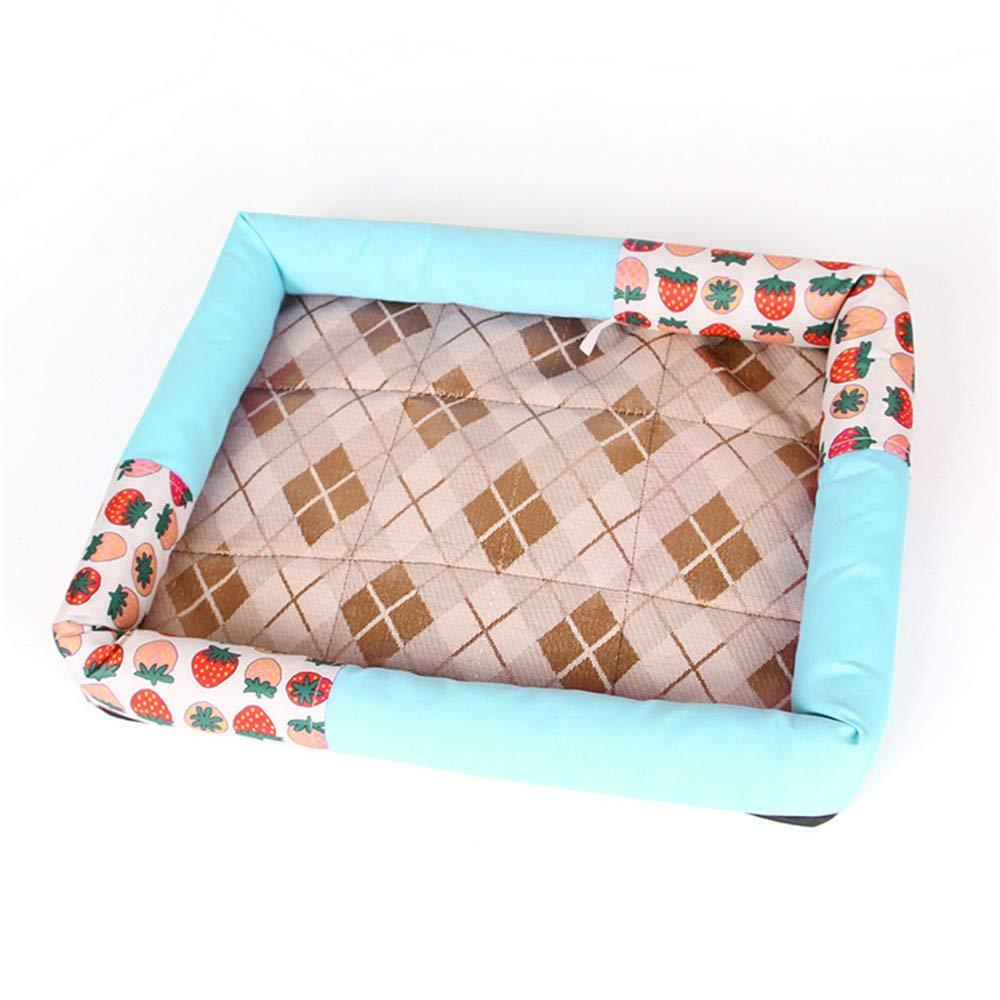Mzdpp New Lavabile E Staccabile Pet Dog And Dog Bed Kennel Estate Traspirante Stampa Blu Fragola 50X63 Cm