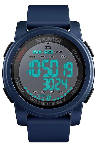 Montres pour Homme Podomètre numérique Compteur de Calories Montre de Sport Alarme étanche Robe Bleu/