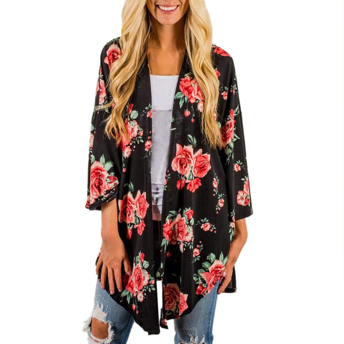 Pandaie Jacket,Feitong Womens Print Bohemia Cardigan Long Kimono Oversized Shawl Blouse BK S