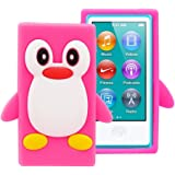 FiveBox 3d Penguin Soft Silicone Rubber Skin Case Cover for Apple iPod Nano 7th Generation - Hot Pink