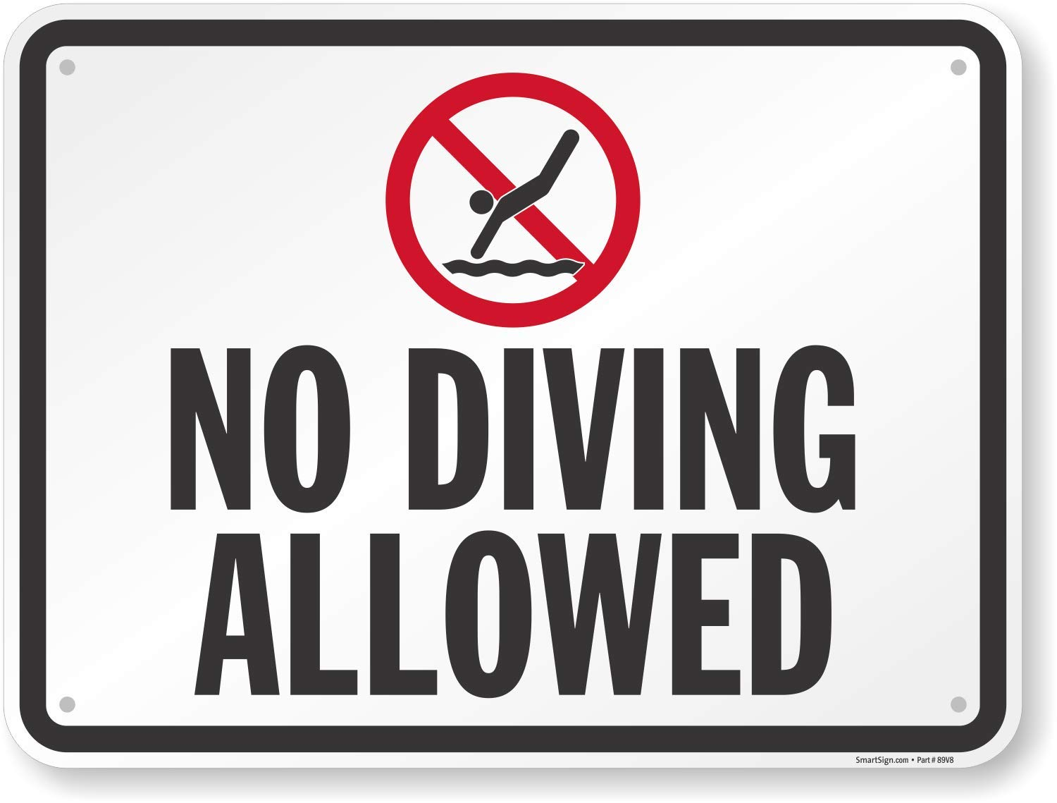 SmartSign''No Diving Allowed'' Sign | 18'' x 24'' Aluminum by SmartSign