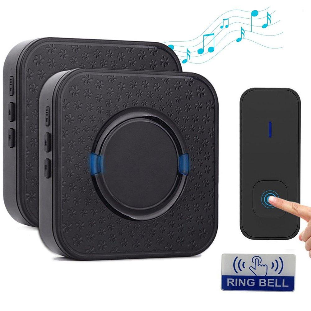Wireless Doorbell Kit, WEILIANTE Waterproof Chime Kit (2 Receivers+ 1 Button), Long Operating Range of Over 1000 Feet(300 m), 55 Chimes 5-Level Volume, Dustproof and Waterproof