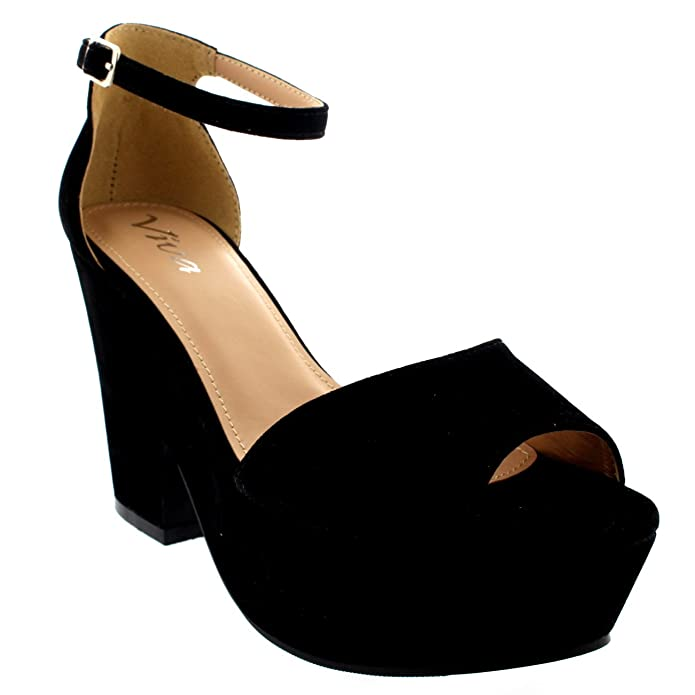Viva Womens Chunky Heel Platform Ankle Strap Evening Faux Suede High Heels:  Amazon.co.uk: Shoes & Bags