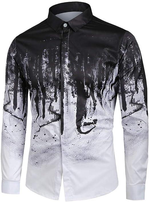 ღLILICATღ Camisa para Hombre con Solapa, Hombres, Botón, Color Degradado, Jersey de Manga Larga, Blusa con Impresión: Amazon.es: Jardín