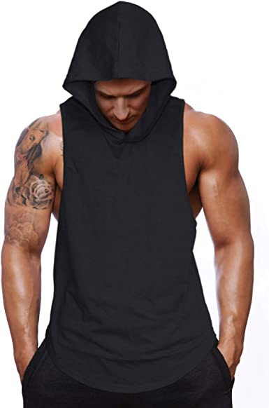 Details about  /Gyms Mens Bodybuilding Hooded Tank Top Cotton Sleeveless Vest Sweatshirt Fitness