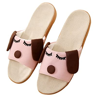 Blubi Women's Summer Dog Flax House Slippers Comfortable Ladies Slippers Open Toe Slippers