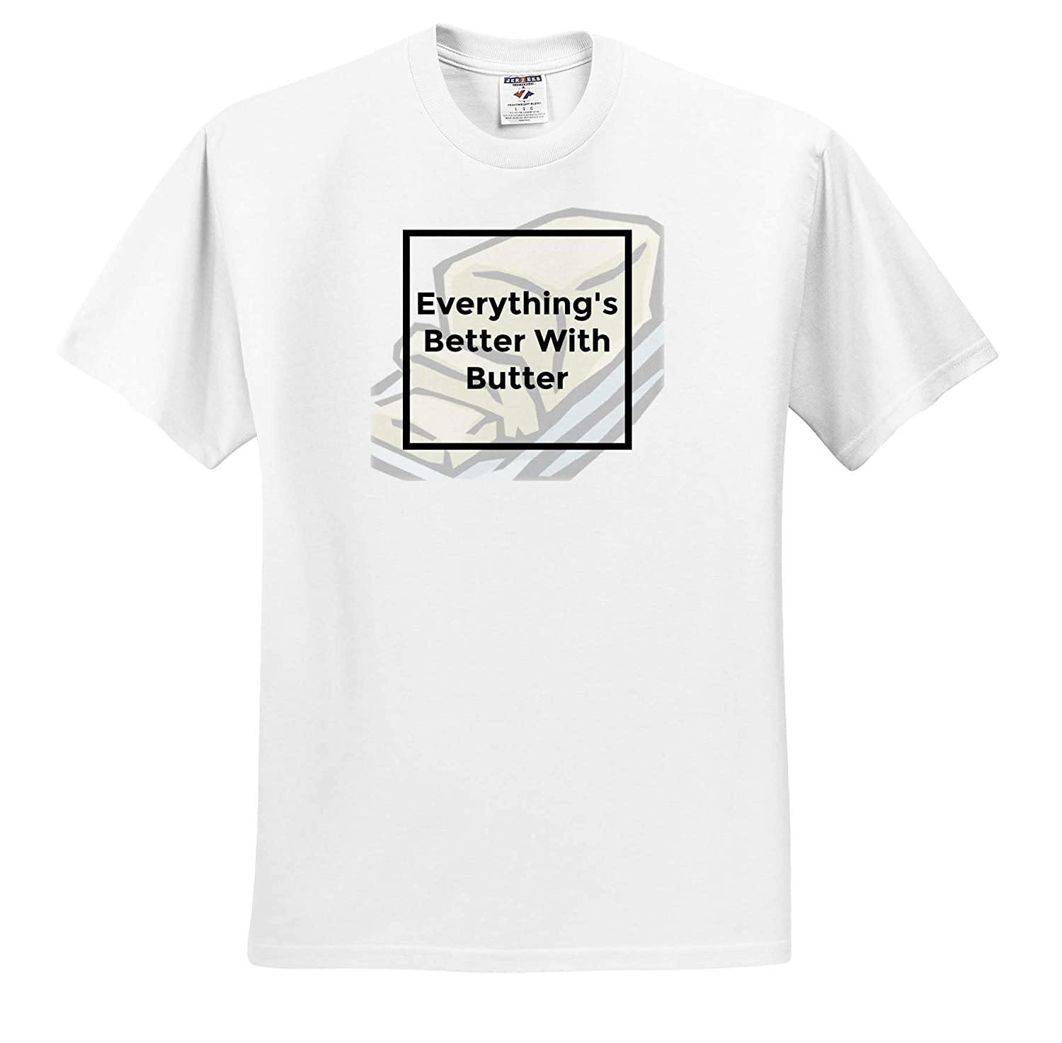 ts/_319354 Adult T-Shirt XL 3dRose Carrie Quote Image Image of Everythings Better with Butter