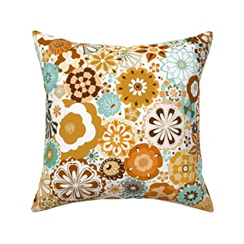 Earth Tone Throw Pillows.Amazon Com Roostery Throw Pillow 1960s Vintage Floral