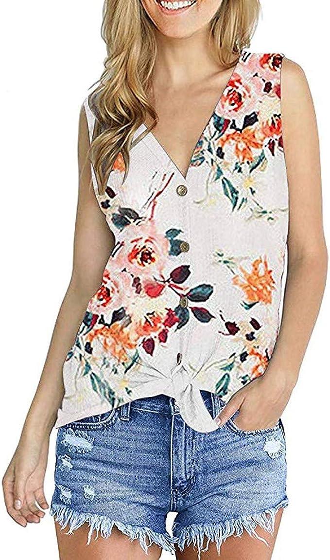 DONTAL Women Fashion Lace Basic Tank Top Sleeveless Loose Fitting Tunic Casual T-Shirt
