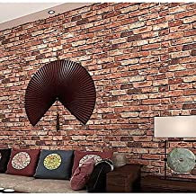zhENfu Brick Wallpaper For Home Classical Wall Covering Non-woven fabric Material Adhesive required Wallpaper,Burgundy