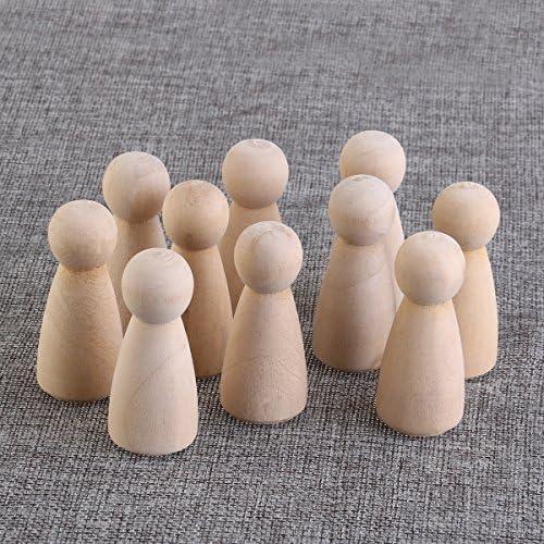 ULTNICE Bol en bois de poup/ée en paille Topper DIY Plain Figurines en blanc pour d/écoration de mariage Pack de 10