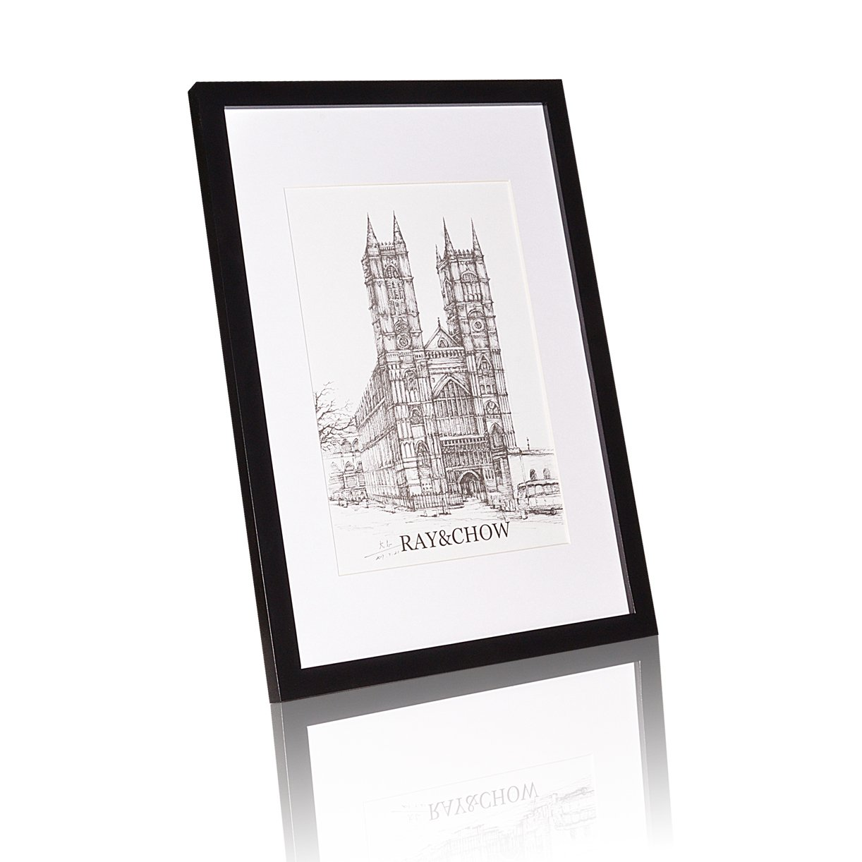 Ray & Chow 12x16 Picture Frame - Solid Wood - Glass Window - with Picture Mat for 8x12 Photo - Frame Width 2cm-Black
