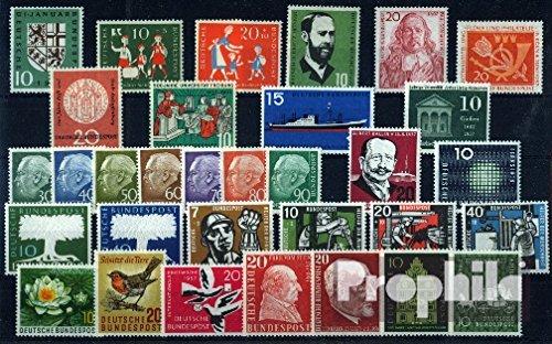 Prophila Collection BRD (BR.Deutschland) 1957 ohne 259y-260y (Heuss lumogen) kompletter Jahrgang in sauberer Erhaltung (Briefmarken für Sammler)