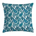 Paisley Throw Pillow Cushion Cover by Ambesonne, Ocean Inspired Design with Stripes and Flowers Abstract Background Image Print, Decorative Square Accent Pillow Case, Blue and White