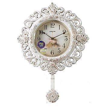 AIKE Retro PéNdulo Reloj Pared, Lujo Sencillo Mudo Reloj,DXNSPF Casa Sala Madera Reloj De Pared, 25.9*18.8 Pulgadas, blanco: Amazon.es: Hogar