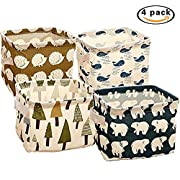4 x Freedi Fabric Storage Cubes Foldable Cosmetic Toys Organizer Mini Square Storage Bins for Nursery with Handle