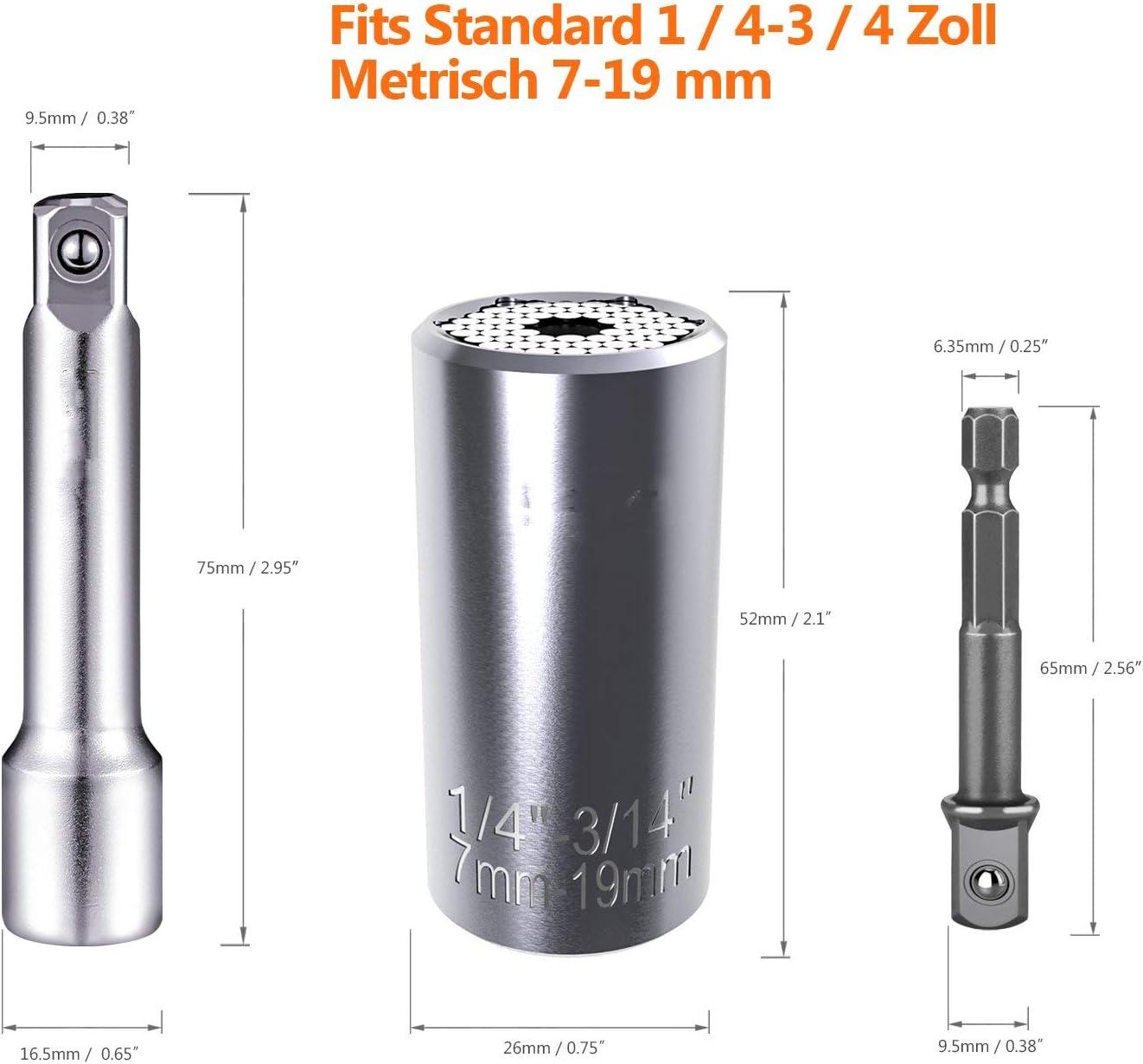 Nifogo llave universal,Universal Llave de Vaso,Multifunci/ón Herramientas 7-19mm,con Acero al Cromo Vanadio 4 PCS