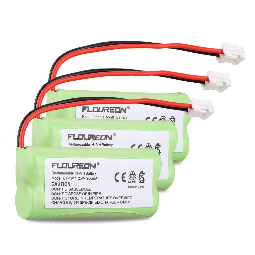 FLOUREON 3Packs 2.4V 900mah Rechargeable Cordless Phone Batteries Handset Cordless Phone for Uniden BT-1011 BT-1018 BT-1022 BATT-6010 CPH-515D DWX337 WXI3077