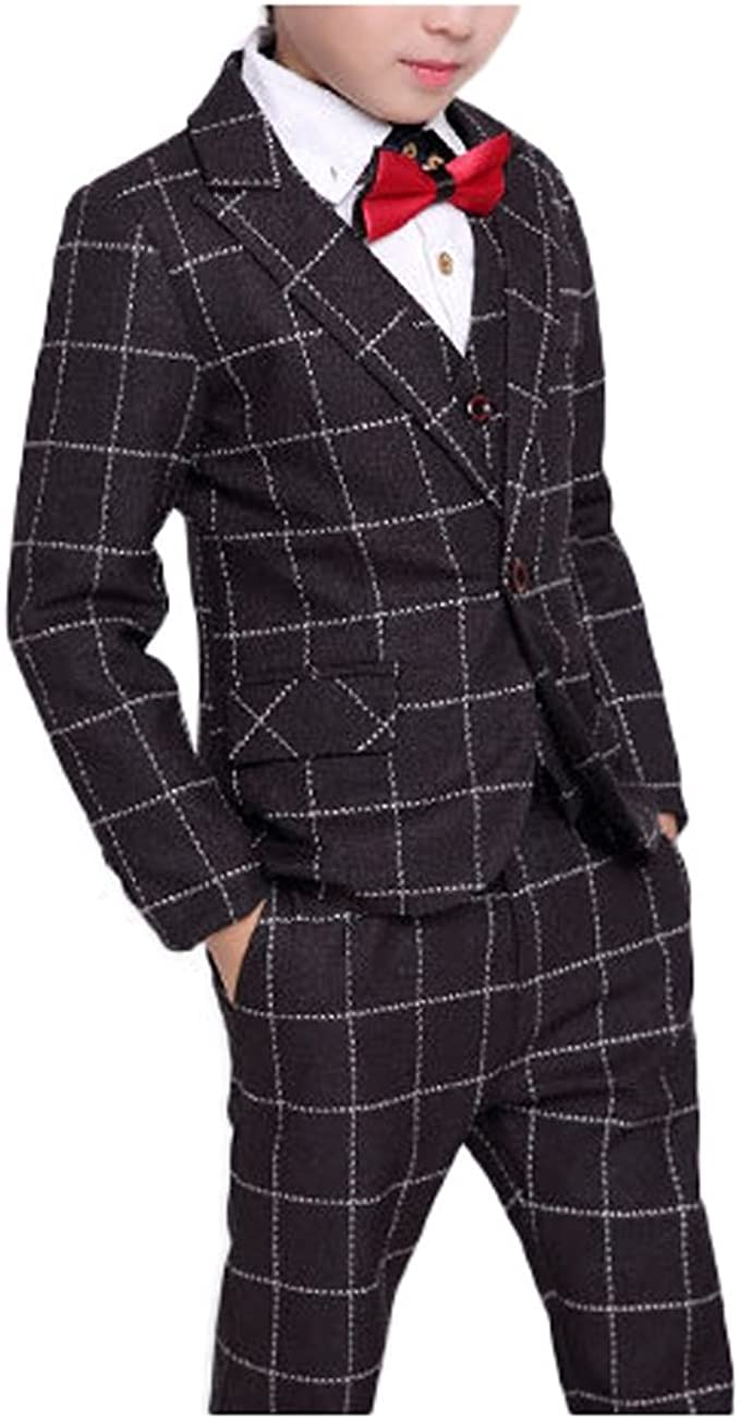Boys Plaid Gray Blue Red Suit Set with Grid 3 Pieces Jacket Vest Pants Set