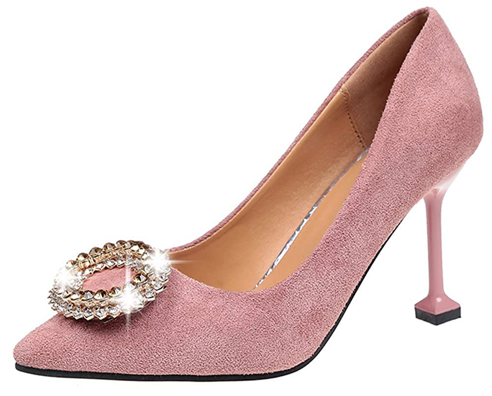 ef866af00a4b Easemax Women's Sexy Slip On Pointed Toe Faux Suede High Stiletto Heel  Rhinestone Court Shoes (Pink, 4.5 UK): Amazon.co.uk: Shoes & Bags