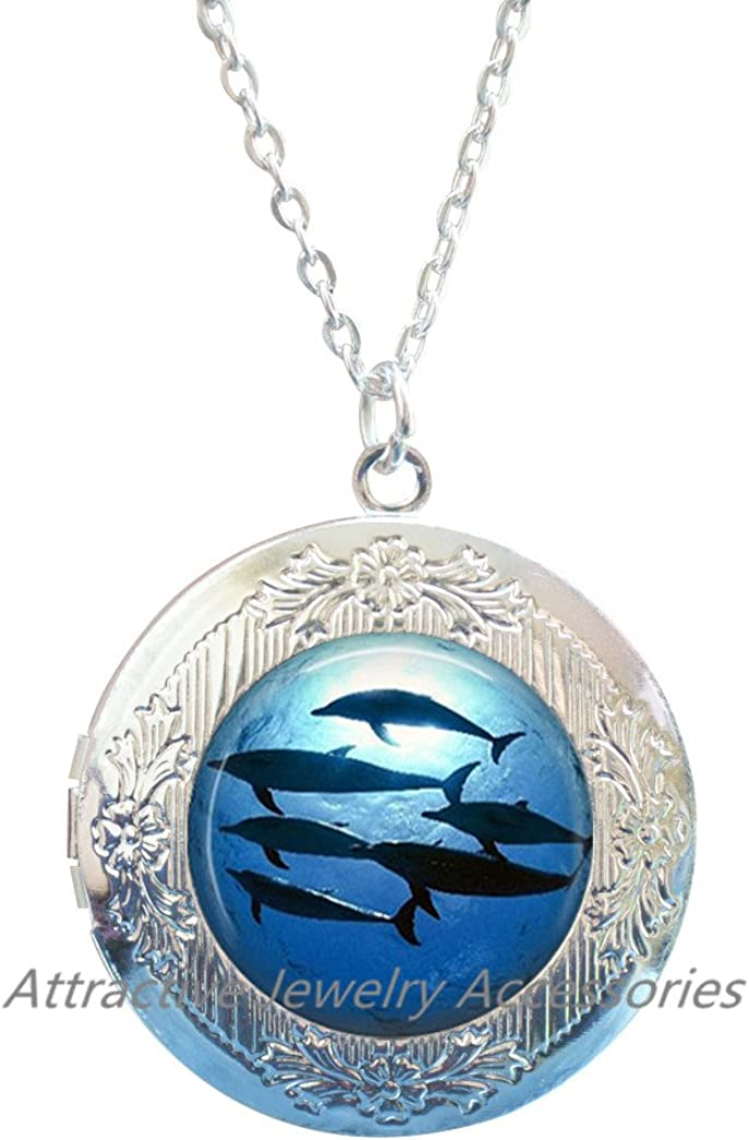 Details about  /GLOW IN THE DARK Kissing Dolphin Couple Silver Locket Charm Necklace Cute Gift