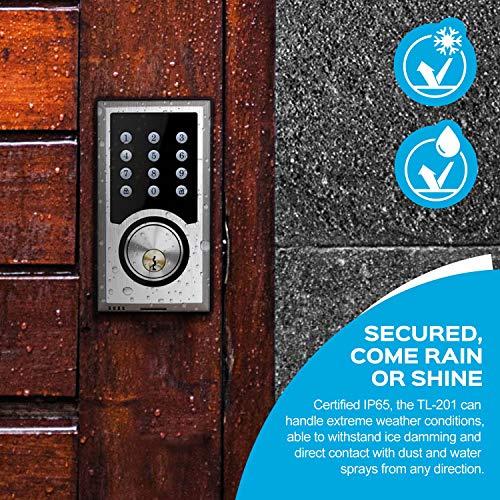 TURBOLOCK TL-201 Electronic Keypad Deadbolt Keyless Entry Door Lock w/Code Disguise, 21 Programmable Codes, 1-Touch Locking + 3 Backup Keys, Bronze by TURBOLOCK (Image #3)