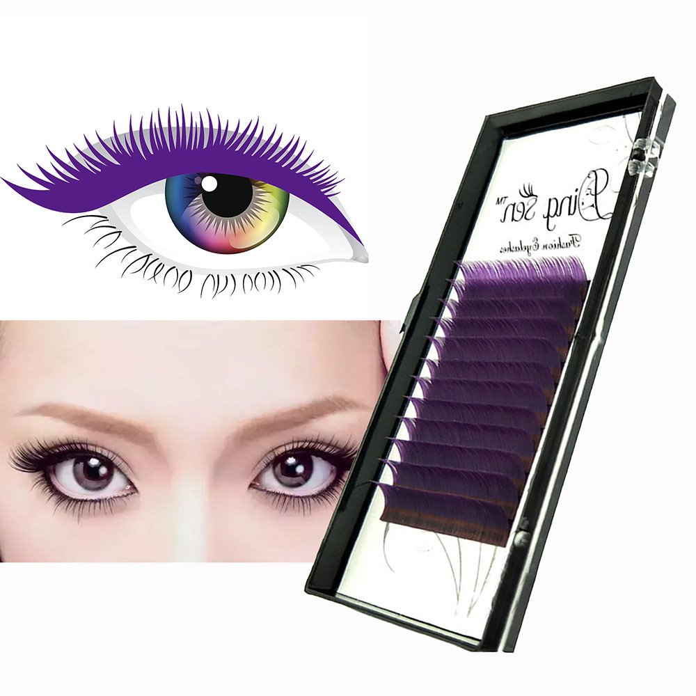 Banstore False Eyelash Extensions 3 Colors Makeup Eye Lashes 12 Rows Fitted Hot-Fi (Blue, 12mm)