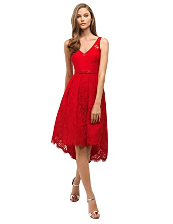 dressvip Tea Length Women Red Prom Dresses Evening Dresses (Red, UK10)