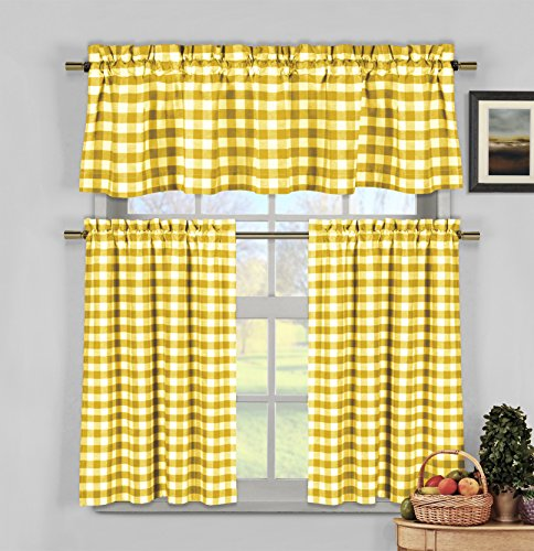 3 Piece Plaid, Checkered, Gingham 35% Cotton Kitchen Curtain Set with 1 Valance and 2 Tier Panels (Yellow)