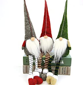 3pcs Swedish gnome, Chirstmas Plush Toy, Scandinavian Style Decor, Dangle Leg Shelf sitters