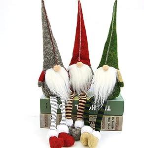 3pcs Swedish gnome, Chirstmas Plush Toy, Scandinavian Style Decor, Dangle Leg Shelf sitters