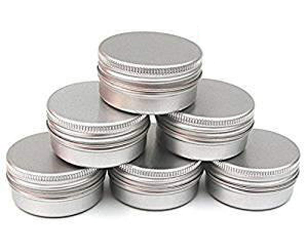 CTKcom 5-Ounce 6-Packs Screw Top Aluminum Tin Cans Gram Jar,150ml Empty Slip Slide Round Containers For Lip Balm,Salve,Crafts,DIY Beauty,Cosmetic,Candles,Storage Kit,Pack of 6