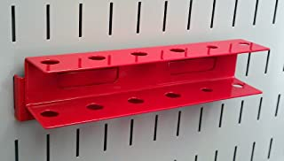 product image for Wall Control Pegboard Screwdriver Holder Bracket Slotted Metal Pegboard Accessory Pegboard and Slotted Tool Board – Red