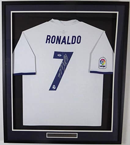 the latest 372a8 b7180 CRISTIANO RONALDO AUTOGRAPHED FRAMED REAL MADRID FLY ...