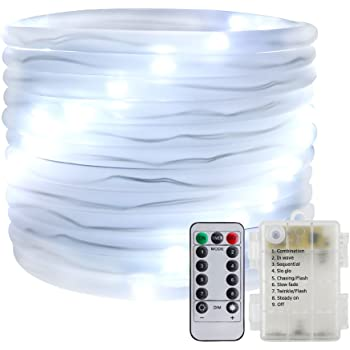 Remote&Timer Battery Powered Rope Lights,ER CHEN(TM) 16.5FT 50 LED Warterproof Indoor&Outdoor Portable Rope String Lights for Christmas Tree, Wedding, ...