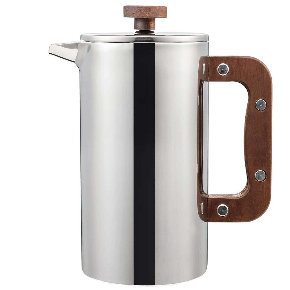 Miuly Stainless Steel French Press With Walnut Handle, Double Walled Insulated Coffee & Tea Maker,(34oz/1L, 8 cup), Bonus with 2 Extra Filter Screens by Miuly (Image #5)