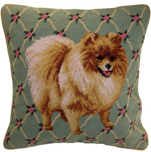 Floral Orange Pomeranian Dog Needlepoint Pillow - 14