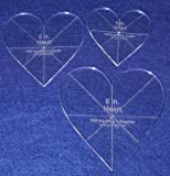 Heart Template 3 Piece Set. 4'',5'',6'' - Clear 1/4'' Thick w/ guidelines