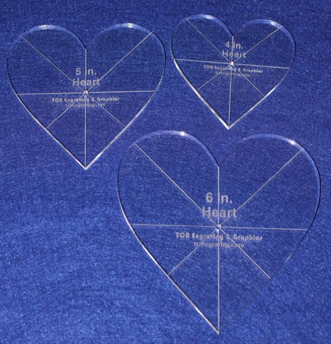 Heart Template 3 Piece Set. 4'',5'',6'' - Clear 1/4'' Thick w/ guidelines by TCR Templates