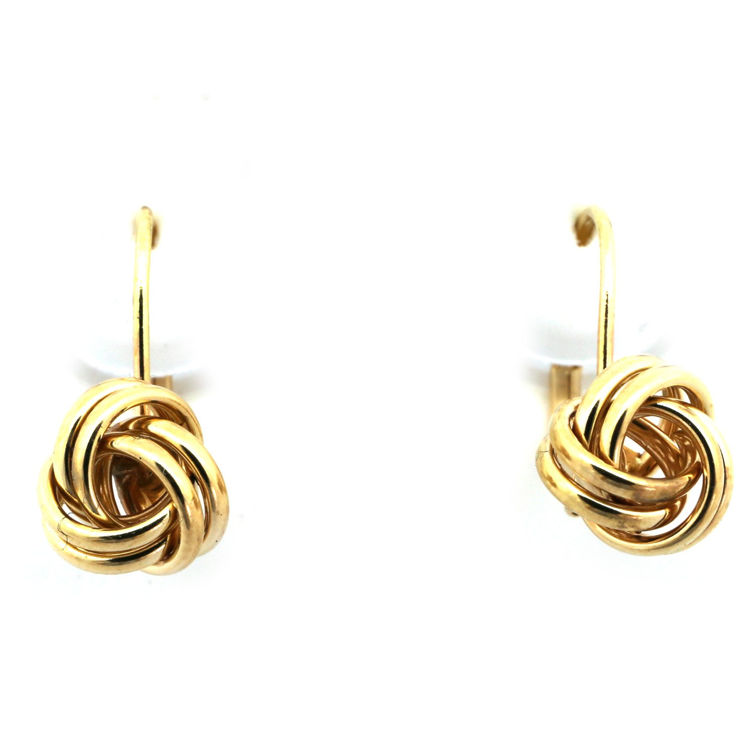 14k Yellow Gold 8mm Love Knot Leverback Earrings